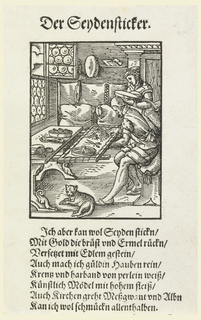 Embroiderer shown at work in his shop, assisted by a woman. Facsimile of a page from early 16th century book.
