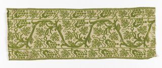 Border strip with one broad and two narrow bands ornamented with scrolling stem with stylized fruit and leaves, in green on white ground. Woven in imitation of embroidery.