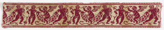 Red and cream-colored border with putti holding garlands. From a design in the manner of Giovanni Ostaus.