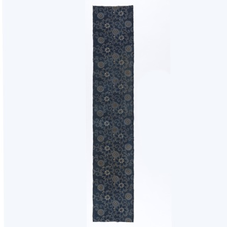 Length of stencil resist (katazome) with ivory pattern on finely dotted blue ground. Two sizes of full-faced flowers with red details.