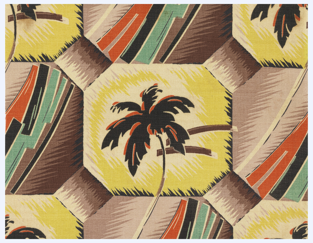 Tile-like pattern of octagons joined by small diamonds; motifs alternate palm trees and abstract diagonal forms; in black, brown, green, orange and yellow on a white ground.
