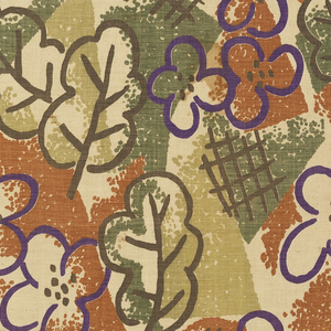 Length of printed fabric with stylized flowers and leaves with cross hatching, printed in greeens, purple and brown.