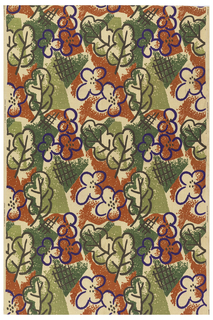 Length of printed fabric with stylized flowers and leaves with cross-hatching, in purple, rust and greens.