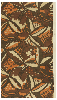 Length of printed fabric with a large-scale abstract floral pattern in browns and orange on a natural-colored ground.