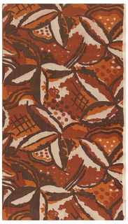 Length of printed fabric with a large-scale abstract floral pattern in brown, rust and orange on a natural-colored ground.