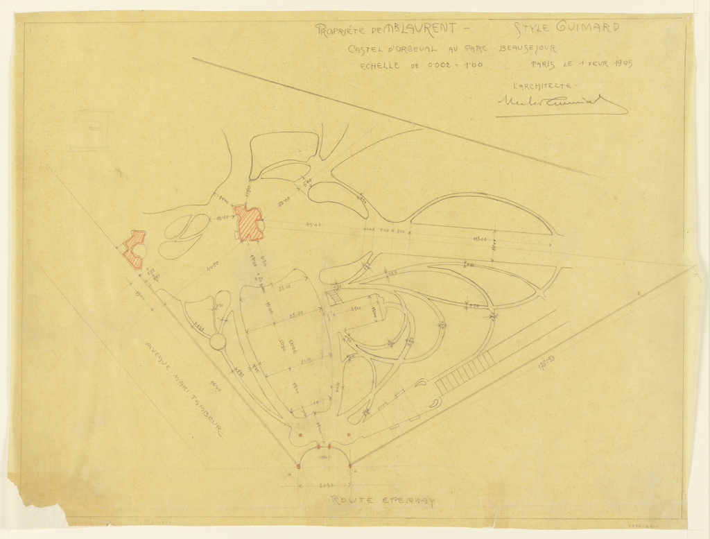 Design for the Castel D'Orgeval. driveway and gardens  Drawing depicts sketches of paths in organic shapes. Buildings shown in red with gateposts and sculpture in red Scale noted throughout drawing. Scale: upper right, in graphite: 0.002 = 1.00