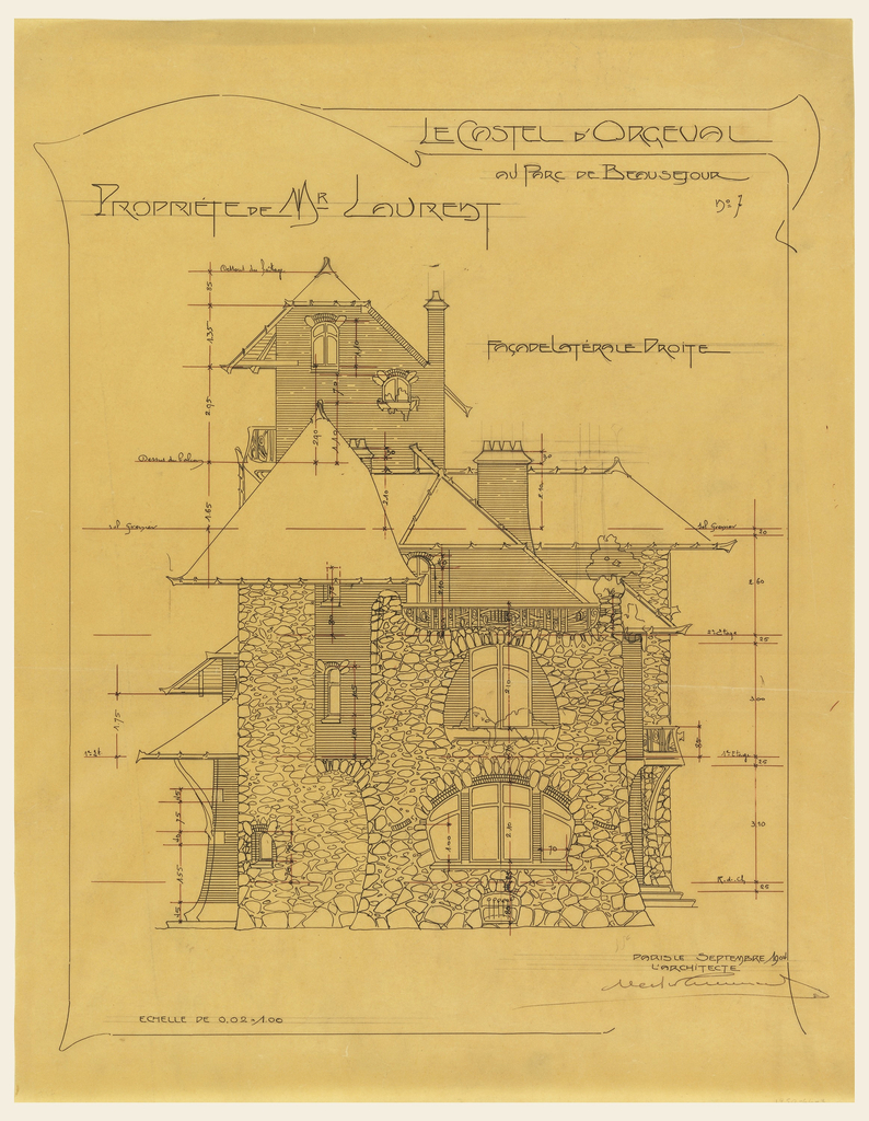 Design for the private house of Mr. Laurent, right lateral side. Rough stone and brick material indicated in drawing. Scale noted throughout drawing.