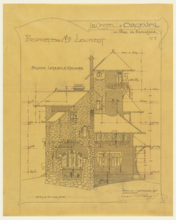 Plan for the private house of Mr. Laurent, left lateral side. Rough stone and brick indicated in the drawing. Scale noted throughout drawing.
