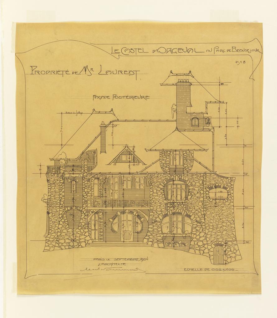 Drawing, Design for Rear Elevation, Castel d'Orgeval, Parc Beauséjour, Paris, France, 1904