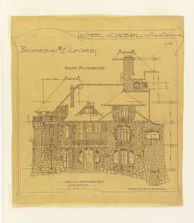 Drawing, Design for Rear Elevation, Castel d'Orgeval, Parc Beauséjour, Paris, France