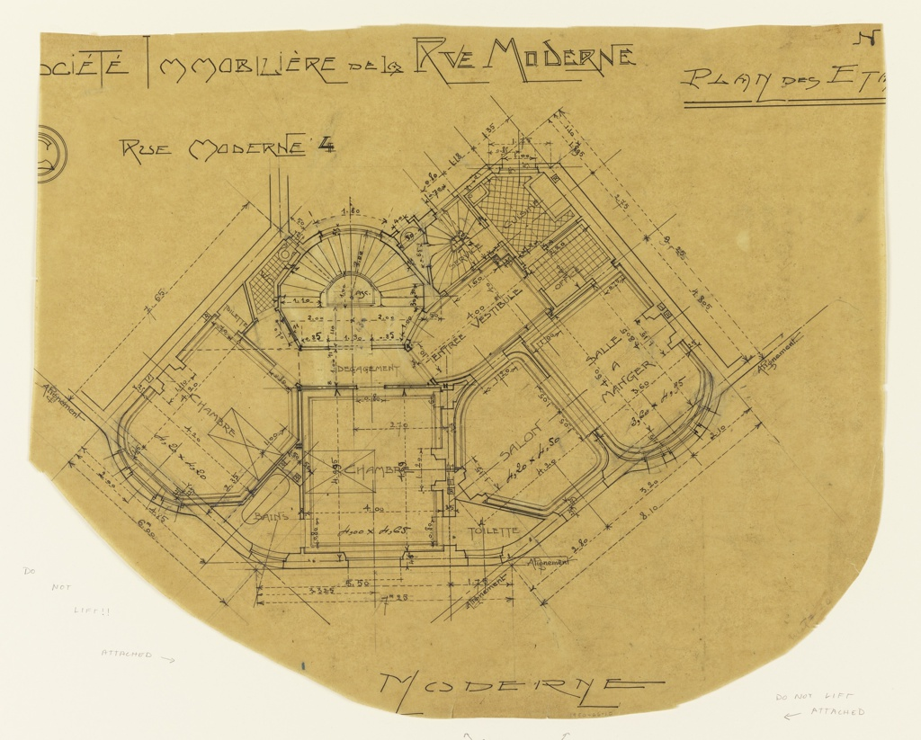 Floor plan for the Rez de Chausse. The function and scale of rooms are noted throughout the design.