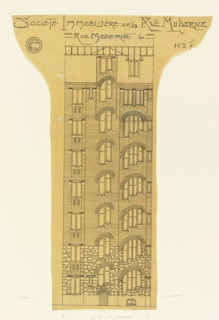 Elevation of the facade of a narrow apartment building. Rough stone indicated at base of building. Paper cut around building and inscription.