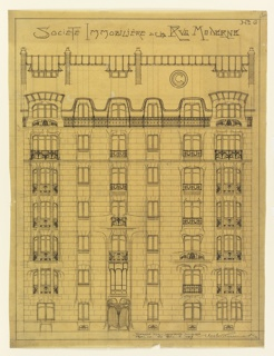 Front elevation of a facade of a six story apartment house, with brick window surrounds indicating art nouveau fluidity. Front door and balconies on the upper floors show intricate iron work. Windows on ground level have simpler treatments. Attic is indicated at top of sheet showing four chimneys and dormer windows. Inscriptions on top and lower right.
