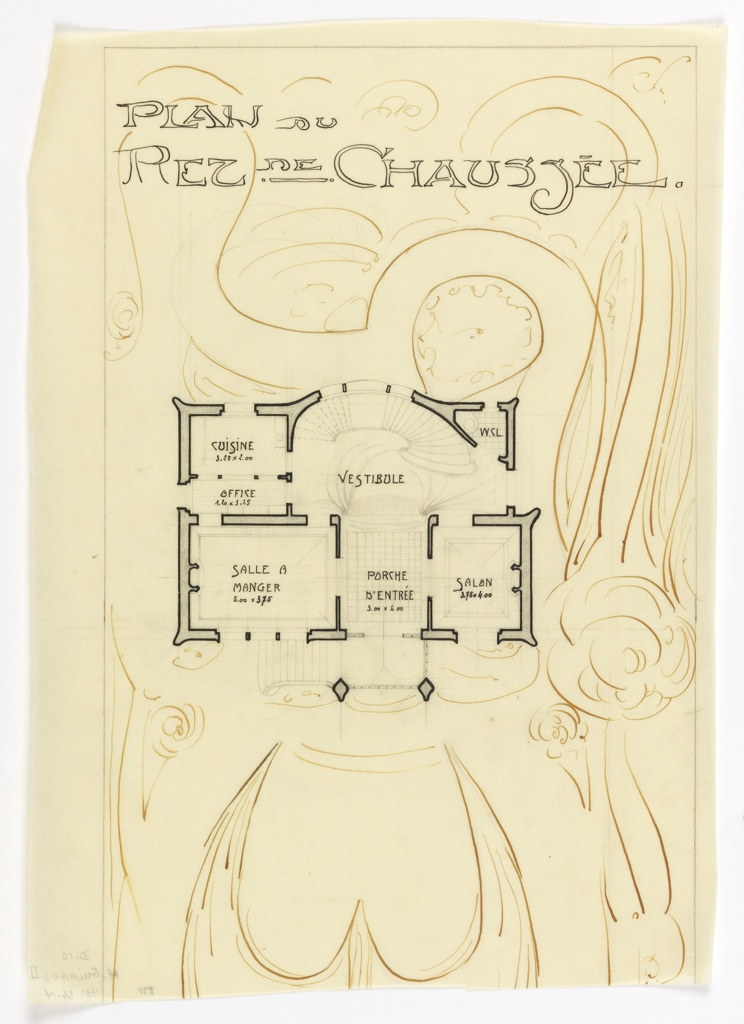 Floor plan of the ground floor for the Villa of Monsieur Hempsy at St. Cloud. Function of rooms and scale noted throughout drawing. Abstract floral design around floor plan.