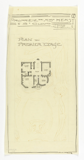 Floor plan for the first floor of the Villa of Monsieur Hemsy at St. Cloud. Function and scale of rooms noted thruoghout the design. In the background, an intricate abstract floral design.