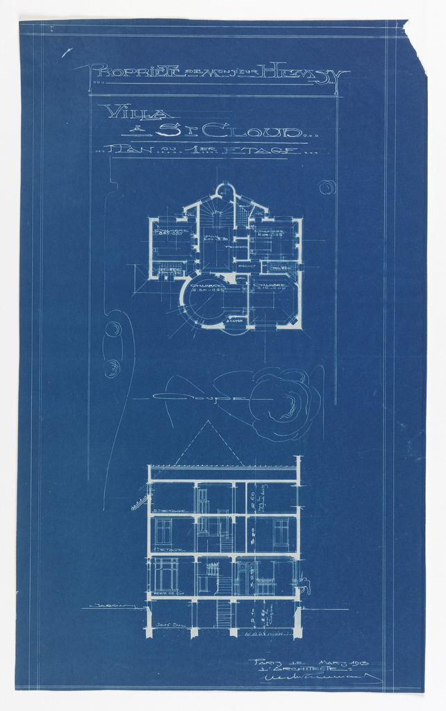 Floor plan and elevation plan for the Villa of Monsieur Hemsy at St. Cloud. On top, floor plan for the first floor with labels for each room. Below, an elevation plan showing each floor. Scale noted throughout the drawing.
