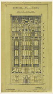 Elevation of the principal facade of a six and a half story apartment house, with a quadruple fenestrated central panel, flanked by panels of double fenestration. Base of building in larger stones that become smaller stones after the ground floor.