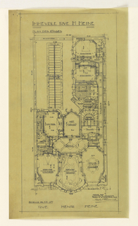 Ground plan of a 9 room private apartment in the apartment building designed by Hector Guimard on Rue Heine. Function and scale of rooms noted throughout design.