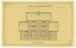 Principle facade of a two story, two family operational house, to be built according to constructional plans devised by Guimard for post-World War I housing shortage.