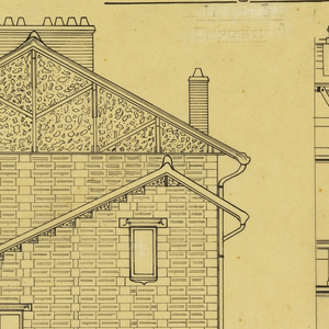 Side elevation and cross section of a two story, two family operation house, to be built according to constructional plans devised by Guimard for the post-World War I housing shortage.