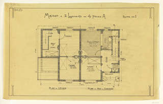 Floor plans for first and second floors of a two story, two family operation house, to be built according to constructional plans devised by Guimard for the post-World War I housing shortage.