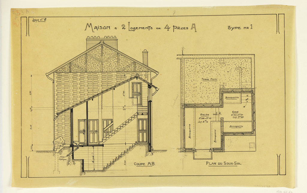 Cross section of side elevation and floor plan of basement of a two story, two family house, to be built according to constructional plans devised by Guimard for post-World War I housing shortages.