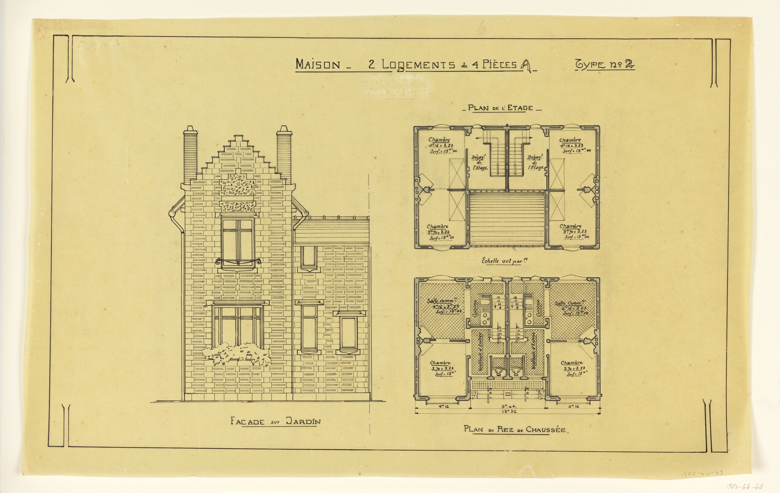 Nice Drawing, Rendering Of Elevation And Floor Plan Of A Two Family  Mass Operation House (Type No. 2), Ca. 1921 | Objects | Collection Of  Cooper Hewitt, ...