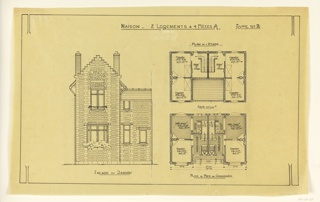 Design showing the elevation and floor plan for a two family mass-operation house, to be built according to constructional plans devised by Guimard for the post-World War I housing shortage.