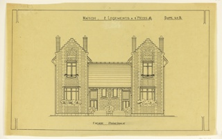 Drawing of the principal facade of a two family mass-operational house, to be built according to constructional plans devised by Guimard for the post-Wold War I housing shortage.
