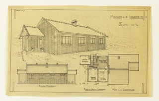 Plan for a two person mass-operational house, to be built according to constructional plans devised by Guimard for the post-Wold War I housing shortage. At the top of the design is a view of the house from the left moving right. Below, on the bottom left a design for the prinicpal facade. Pictured bottom right, a floor plan and design for the roof.