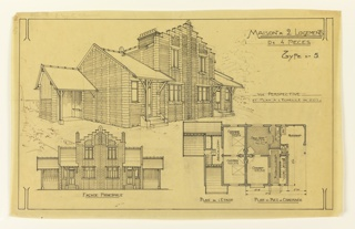 On top, an angle view of house, below a side elevation and floor plans of a two-story, two-family mass-operational house, to be built according to constructional plans devised by Guimard for the post-World War I housing shortage.
