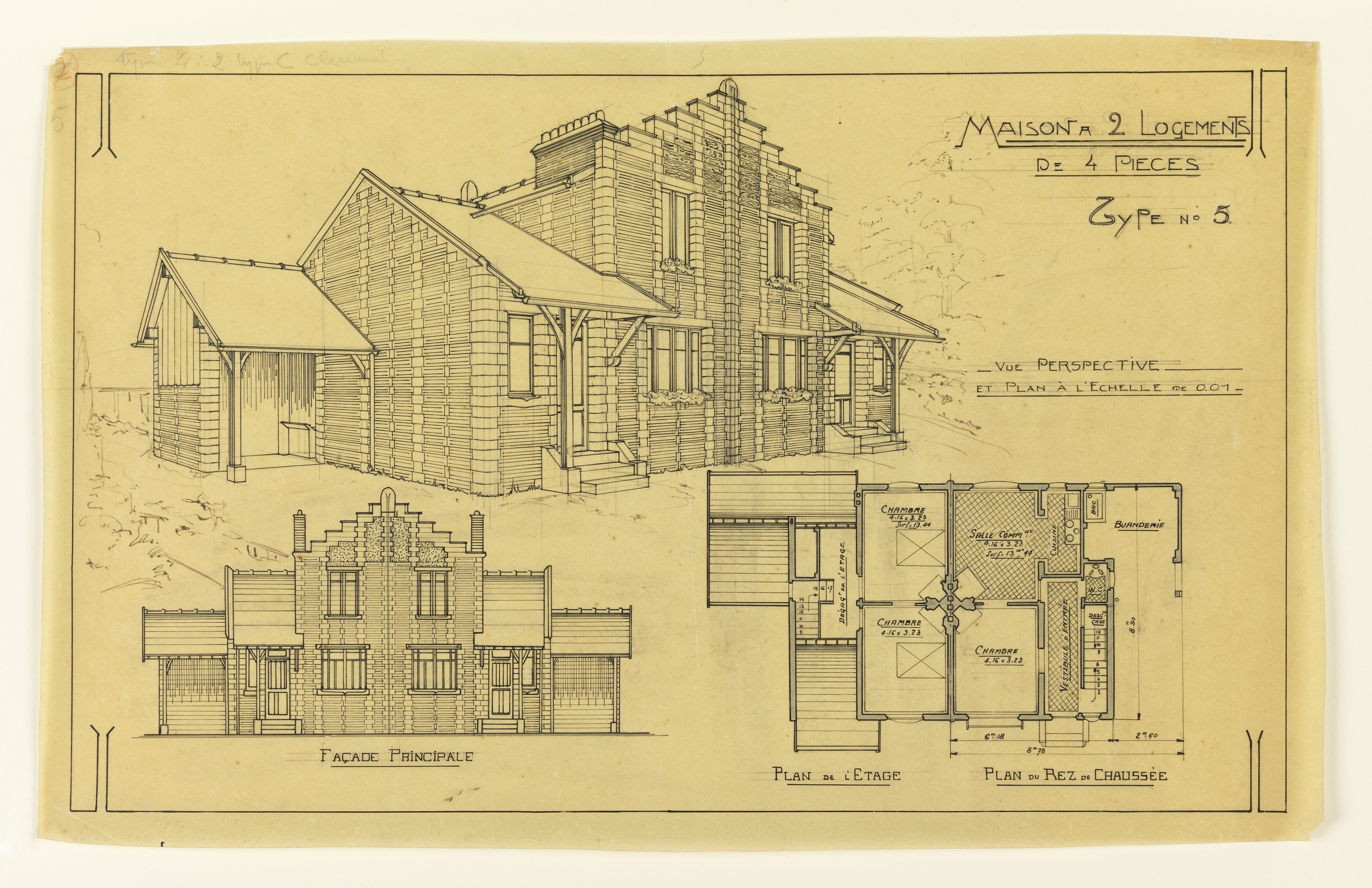 Drawing, Two Elevations And Floor Plan Of A Two Family Mass Operational  House (Type No. 5), Ca. 1921 | Objects | Collection Of Cooper Hewitt, ...