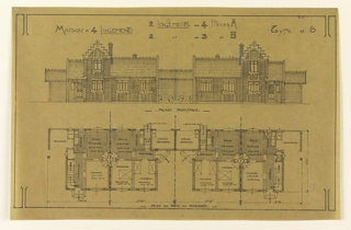 Elevation and floor plan for a mass-operational four family house. The top design shows the elevation of the building, and the bottom plan is the floor plan. Design to be build according to constructional plans devised by Guimard for post-World War I housing shortage.