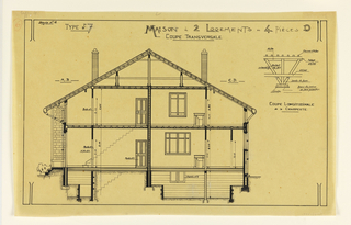 Rendering of interior view of a two family mass-operational house, to be built according to constructional plans devised by Guimard for post-World War I housing shortage.
