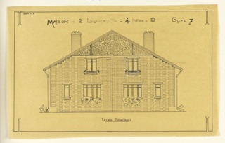 rendering of the principal facade of a two family mass-operational house, to be built according to constructional plans devised by Guimard for post-World War I housing shortage.