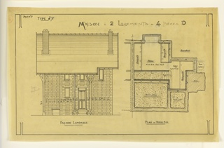 Design for a side facade and basement layout for a two family mass-operational house, to be built according to constructional plans devised by Guimard for post-World War I housing shortage.
