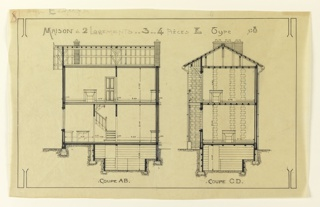 Drawing, Rendering of a Cross Section of a Two Family Mass-operational House (Type No. 80