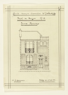 Design for a two story unit in a housing project. Front elevation, with entrance at right. Basement level of rough stone, with brick above. Stone enframents for doorway and windows.