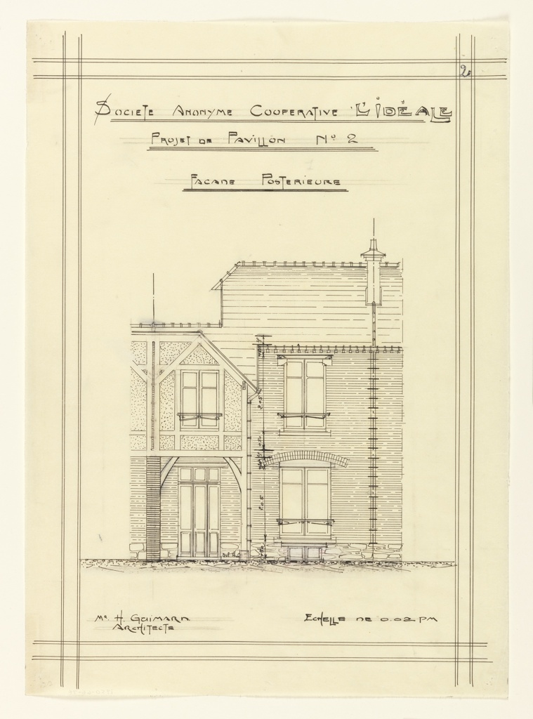 Rear facade of a house as part of a design for a two story unit in a housing project.