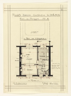 Floor plan for a two story unit in a housing project for the Societe Anonyme Cooperative L'Ideale. Design notes that a garden is included in the plan. Function of rooms and scale noted throughout drawing.
