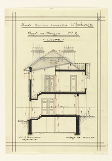 Cross section for a two story unit in a housing project for the Societe Anonyme Cooperatiive Ideale, which shows the basement, ground floor and first floor. Scale is noted throughout the design.