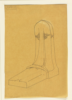 Design for a tombstone. Design shows upright element and horzontal section of the monument.