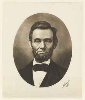 Bust portrait of Abraham Lincoln within an oval.