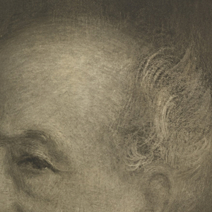 Photograph of painted portrait of Hector Guimard. Bust portrait, the head turned half-left. Painting signed lower right.