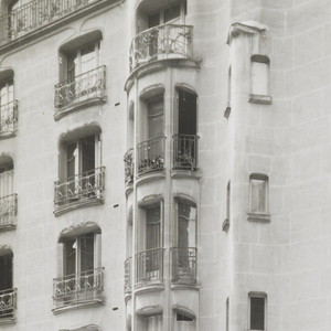 Photograph of one of the apartment buildings designed by Hector Guimard, belonging to a series of photographs documenting his architecture.