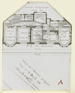 Photograph of the floor plan of one of the apartment buildings designed by Hector Guimard, belonging to a series of photographs documenting his architecture.