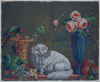 Wall panel for fireboard or overdoor. Horizontal rectangle showing a white cat with paw on a dead bird; at one side a parrot on a basket of fruit; at the other, a blue vase with flowers in it.