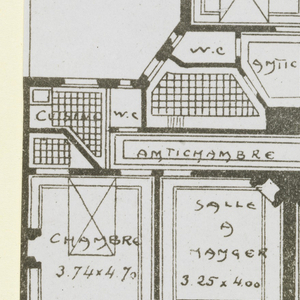 Photograph of a floor plan of one of the apartment buildings designed by Hector Guimard, belonging to a series of photographs documenting his architecture.