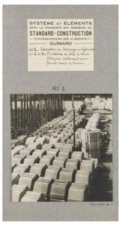 """Photograph, Photograph of 3, square Jasmin (under construction); No. 1: Concrete Block Drying Site (""""No. 1: Chantier de Séchage des Agglomérés), from album """"System and Elements whose Ownership is Restricted to Standard-Construction, Franchise-Holder of Guimard's 10 Patents"""" (""""Système et Éléments dont la Propriété est Réservée au Standard-Construction Concessionnaire des 10 Brevets Guimard"""""""