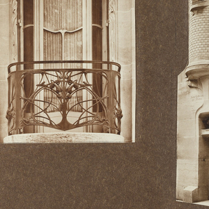 Photographs depicting windows and doors on Hector Guimard's house. At left, a large window with cast bronze balustrade. At center, seen from the right, the front entrance to the house with grillework. Pictured right, another window without grillework.